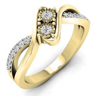 0.25 Carat (ctw) 10K Yellow Gold Round White Diamond Ladies Two Stone Split Shank Bypass Style Bridal Engagement Ring 1/4 CT