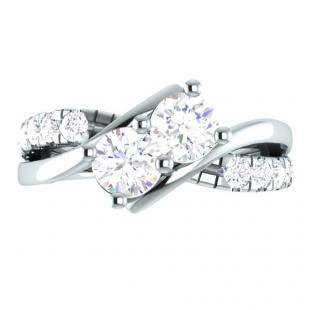 0.90 Carat (ctw) 14K White Gold Round White Diamond Ladies Two Stone Bypass Style Bridal Engagement Ring