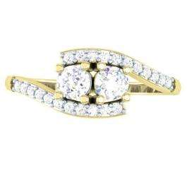 0.50 Carat (ctw) 10K Yellow Gold Round White Diamond Ladies Two Stone Bypass Style Bridal Engagement Ring 1/2 CT