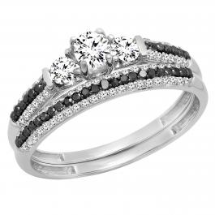0.90 Carat (ctw) 10K White Gold Round White Sapphire, Black & White Diamond Ladies 3 Stone Bridal Engagement Ring Set