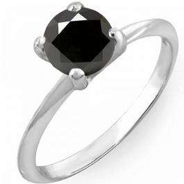 2.50 Carat (Ctw) 18K White Gold Round Black Diamond Ladies Bridal Engagement Solitaire Ring