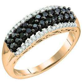 0.60 Carat (ctw) 18k Rose Gold Round Black & White Diamond Ladies Fashion Right Hand Band