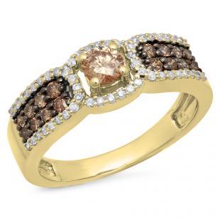 0.75 Carat (ctw) 10K Yellow Gold Round Cut Champagne & White Diamond Ladies Bridal Engagement Ring 3/4 CT