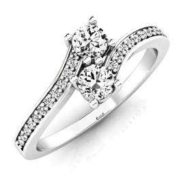 0.50 Carat (ctw) 10K White Gold Round White Diamond Ladies Forever Together Two Stone Bypass Style Bridal Engagement Ring 1/2 CT