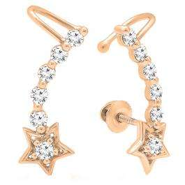0.60 Carat (ctw) 18K Rose Gold Round Cut White Diamond Ladies Journey Stars shaped Climber Earrings