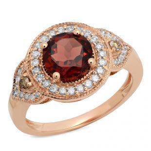 2.30 Carat (ctw) 14K Rose Gold Round Garnet, Champagne & White Diamond Ladies Halo Style Bridal Engagement Ring