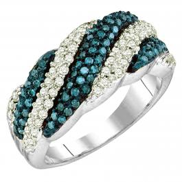 0.80 Carat (ctw) 10K White Gold Round Cut Blue & White Diamond Ladies Bridal Swirl Fashion Right Hand Ring 3/4 CT