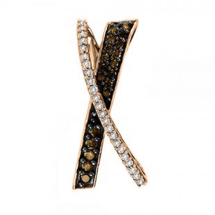 0.55 Carat (ctw) 14K Rose Gold Round Cut White & Cognac Diamond Ladies Fashion Pendant 1/2 CT