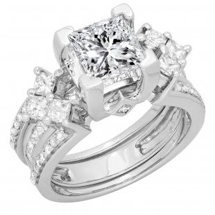 4.25 Carat (ctw) 14K White Gold Princess Cubic Zirconia & Princess & Round White Diamond Ladies Bridal Engagement Ring With Matching Band Set 4 1/4 CT