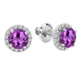 2.00 Carat (ctw) 18K White Gold Round Amethyst & White Diamond Ladies Halo Style Stud Earrings 2 CT