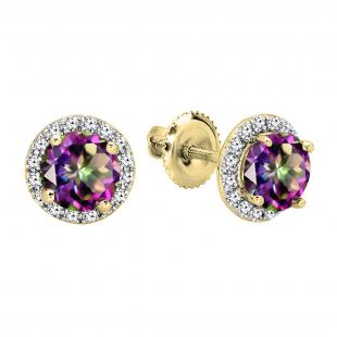 2.00 Carat (ctw) 18K White Gold Round Rainbow Topaz & White Diamond Ladies Halo Style Stud Earrings 2 CT