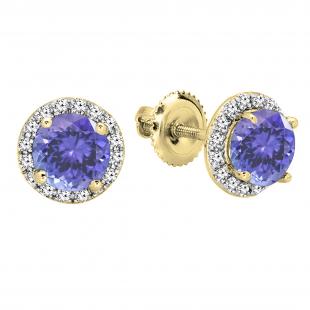 2.00 Carat (ctw) 18K White Gold Round Tanzanite & White Diamond Ladies Halo Style Stud Earrings 2 CT
