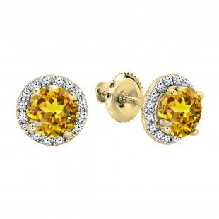 2.00 Carat (ctw) 18K White Gold Round Yellow Sapphire & White Diamond Ladies Halo Style Stud Earrings 2 CT