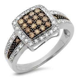 0.45 Carat (ctw) 18K White Gold Round Cut White & Champagne Diamond Ladies Bridal Fashion Right Hand Ring 1/2 CT