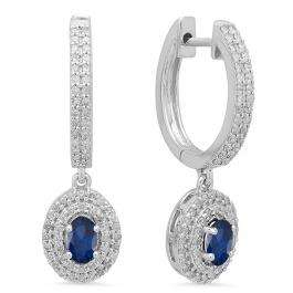 1.10 Carat (ctw) 14K White Gold Oval Cut Blue Sapphire & Round Diamond Ladies Halo Style Dangling Drop Earrings 1 1/10 CT