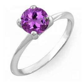 1.50 Carat (ctw) Sterling Silver Round Cut Amethyst Ladies Solitaire Bridal Engagement Ring 1 1/2 CT