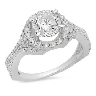 3.65 Carat (ctw) 18K White Gold Round White Cubic Zirconia CZ Ladies Split Shank Bridal Halo Engagement Ring