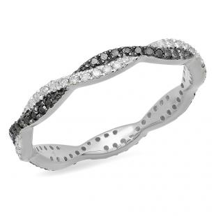 0.38 Carat (ctw) 14K White Gold Round Cut White & Black Diamond Ladies Bridal Stackable Swirl Anniversary Wedding Band