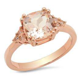 1.95 Carat (ctw) 14K Rose Gold Cushion Cut Morganite & Round White Diamond Ladies Bridal Engagement Ring