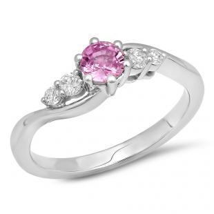 0.70 Carat (ctw) 14K White Gold Round Pink Sapphire and White Diamond Ladies 5 Stone Swirl Bridal Engagement Ring 3/4 CT