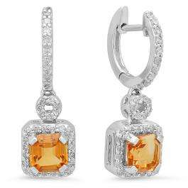 1.80 Carat (ctw) 14K White Gold Asscher Citrine & Round Cut White Diamond Ladies Halo Style Dangling Earrings