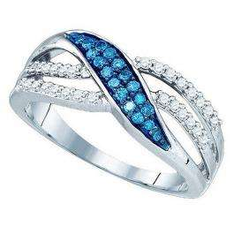 0.40 Carat (ctw) 18K White Gold Round Blue & White Diamond Ladies Split Shank Cocktail Fashion Right Hand Ring