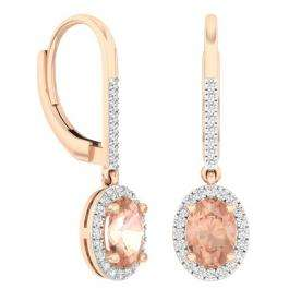 2.30 Carat (ctw) 10K Rose Gold Oval Cut Morganite & Round Cut White Diamond Ladies Halo Style Dangling Drop Earrings