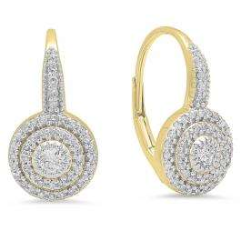 0.55 Carat (ctw) 14K Yellow Gold Round Cut Diamond Ladies Halo Style Dangling Drop Earrings 1/2