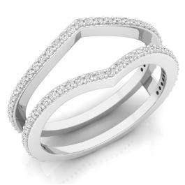 0.40 Carat (ctw) 18K White Gold Round Diamond Ladies Anniversary Wedding Band Enhancer Guard Double Ring