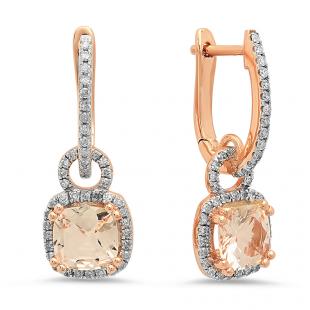 1.75 Carat (ctw) 14K Rose Gold Cushion Cut Morganite & Round Cut White Diamond Ladies Dangling Drop Earrings