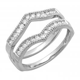 0.48 Carat (ctw) 10K White Gold Round Diamond Ladies Anniversary Wedding Band Guard Double Ring 1/2 CT