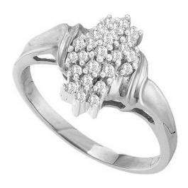 0.25 Carat (ctw) 18K White Gold Round White Diamond Ladies Cluster Flower Ring 1/4 CT