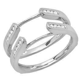 0.24 Carat (ctw) 14K White Gold Round Diamond Ladies Anniversary Guard Double Ring Wedding Band 1/4 CT