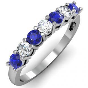 0.80 Carat (ctw) 14K White Gold Round Blue Sapphire and White Diamond Ladies 7 Stone Bridal Wedding Band Anniversary Ring 3/4 CT