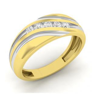 0.22 Carat (ctw) 14K Yellow Gold Round Cut Diamond Men's Fashion 5 Stone Wedding Band 1/4 CT