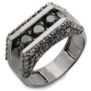 3.60 Carat (ctw) 14K Gold Round Black Rhodium Plated 5 Stone Diamond Mens Hip Hop Ring