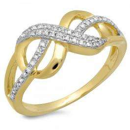 0.15 Carat (ctw) 18K Yellow Gold Plated Sterling Silver Round Diamond Ladies Infinity Promise Ring