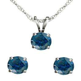 1.00 Carat (ctw) 10K White Gold Round Blue Diamond Ladies Stud Earring & Solitaire Pendant Set 1 CT