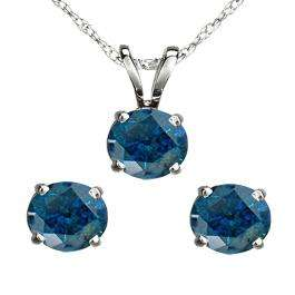 1.50 Carat (ctw) 10K White Gold Round Blue Diamond Ladies Stud Earring & Pendant Set 1 1/2 CT
