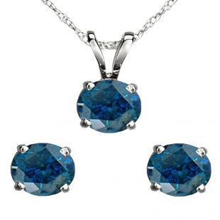 2.00 Carat (ctw) 18K White Gold Round Blue Diamond Ladies Stud Earring & Pendant Set 2 CT