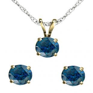 1.00 Carat (ctw) 18K Yellow Gold Round Blue Diamond Ladies Stud Earring & Solitaire Pendant Set 1 CT