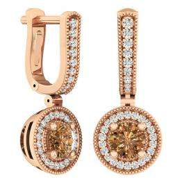 1.00 Carat (ctw) 10K Rose Gold Round Champagne & White Diamond Ladies Halo Dangling Earrings