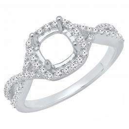 0.35 Carat (ctw) 18K White Gold Round Diamond Ladies Engagement Ring 1/3 CT (No Center Stone)