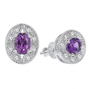 14K White Gold 7X5 MM Each Oval Cut Amethyst & Round Cut White Diamond Ladies Stud Earrings