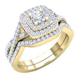 1.40 Carat (Ctw) 18K Yellow Gold Round Cut Cubic Zirconia Ladies Halo Style Engagement Ring Set