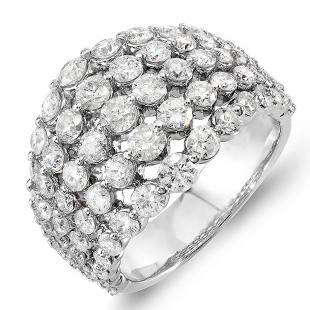 3.25 Carat (ctw) 14k White Gold Round Diamond Ladies Cocktail Right Hand Ring