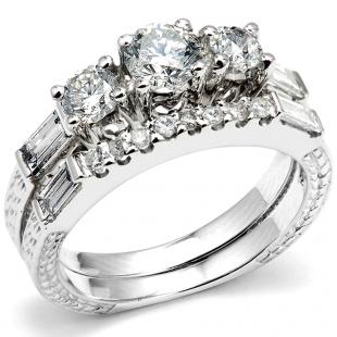 1.50 Carat (ctw) 14k White Gold Round & Baguette Diamond Ladies Bridal Engagement Ring Set with Matching Band