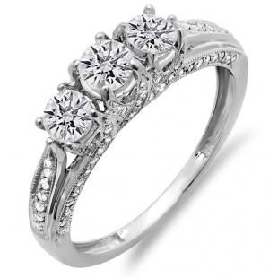 1.00 Carat (ctw) 14k White Gold Round Diamond Ladies Vintage Bridal 3 Stone Engagement Ring 1 CT