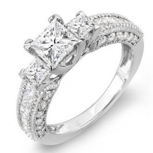 2.25 Carat (ctw) 14k White Gold Princess & Round Diamond Ladies 3 stone Ladies Engagement Ring