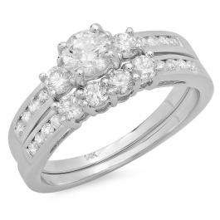 1.15 Carat (ctw) 14k White Gold Round Diamond Ladies Bridal Engagement Ring Matching Band Set